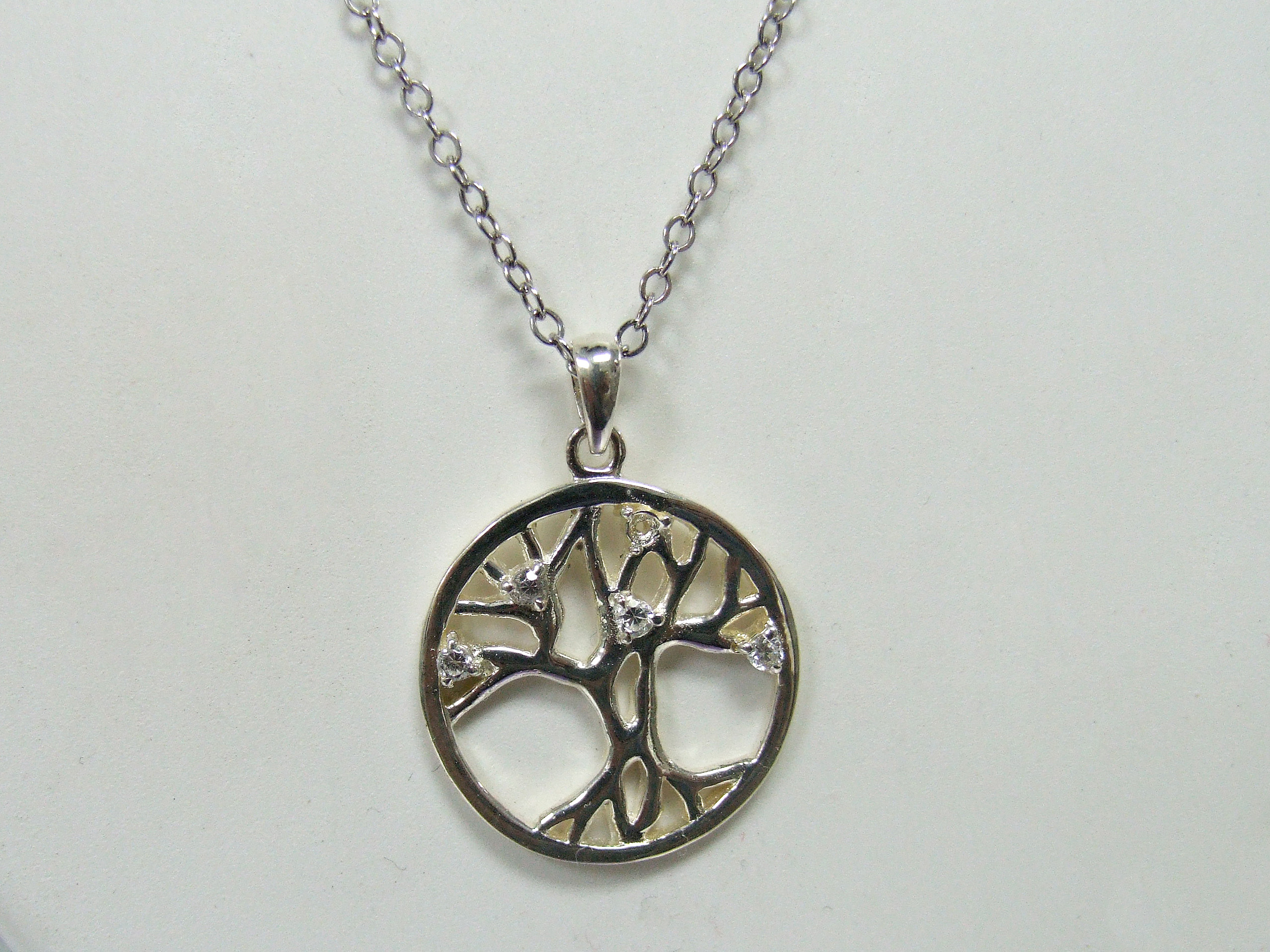 sterling silver tree of life pendant with CZs